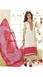 RapidDUkanCream Colour UnStitched Straight Salwar Suit Dupatta Material