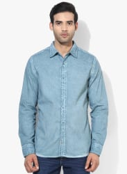 Green Washed Slim Fit Casual Shirt
