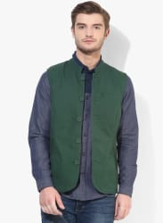 Green Solid Waistcoat