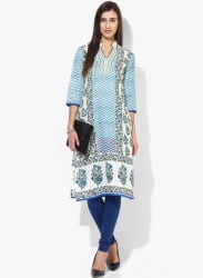 Embroidered Neck Block Kurta With 3/4Th Sleeves