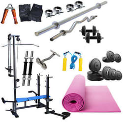 Details about  Fitfly Selling 20 in 1 Bench Home Gym Set 60 kg Weight+ 5FT Plain+ 3FT Curl Rod.