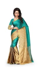 Jaanvi Fashion Designer Green PolyCotton Silk Saree