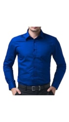 Being Fab Men s Solid 100% Cotton Regular Fit Casual Royal Blue Shirt