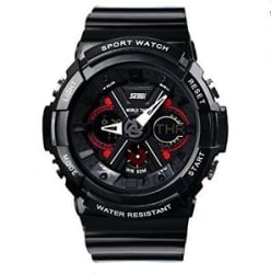Details about SKMEI s007 Mens Sports Analog Digital Watch Black Strap with Black and Red Dial