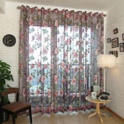Details about  250x100cm Flower Tulle Voile Door Window Curtain Drape Panel Sheer Valance