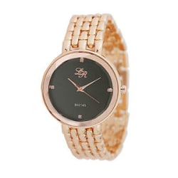 Details about Fashionable Rose Gold Luxury Watch with Black Dial for Ladies Bracelet Watch