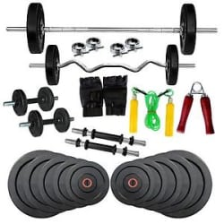 Details about Fitfly Home Gym Set Combo 30Kg Weight With 5 Ft Plain 3 Ft Curl Rod With All Acc