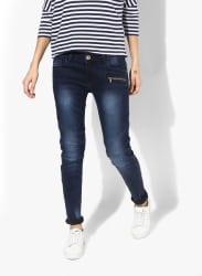 Navy Blue Washed Mid Rise Regular Fit Jeans