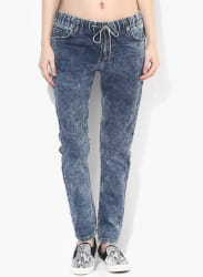 Blue Washed Mid Rise Regular Fit Jeans