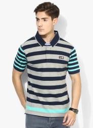 Ruba Grey Striped Polo T-Shirt