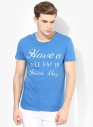 Blue Solid Regular Fit Round Neck T-Shirt