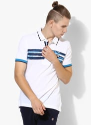 Bandit White Striped Polo T-Shirt