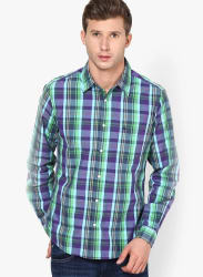 Green Checks Slim Fit Casual Shirt