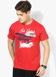 Jet Setter Red Printed Round Neck T-Shirt
