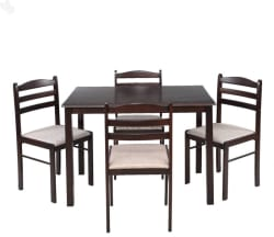 RoyalOak Hunter Solid Wood 4 Seater Dining Set  (Finish Color - Black,Brown)