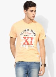 Brunton Orange Printed Round Neck T-Shirt