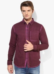 Purple Solid Slim Fit Casual Shirt