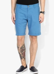 Blue Solid Slim Fit Shorts