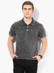 Dark Grey Solid Slim Fit Polo T-Shirt