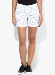 White Printed Shorts