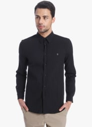 Black Solid Slim Fit Casual Shirt