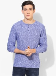 Blue Solid Slim Fit Round Neck Sweater