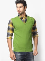 Green V Neck Sweaters