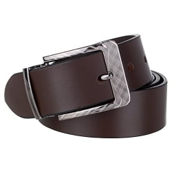 Dussledorf Men's Genuine Leather Brown Texture Dress Belt with Removable Buckle, Enclosed in an Elegant Gift Box (John-02)