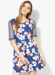Blue Coloured Printed Skater Dress