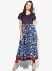 Round Neck Natural Indigo Dyed Dabu Printed Anarakali With Short Sleeves