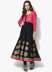 Henley Neck Placement Gold Printed Circular Anarkali With 3/4Th Sleeves