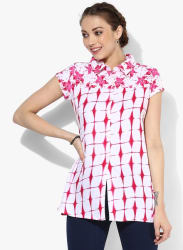 Shirt Collar Printed Top With Short Sleeves