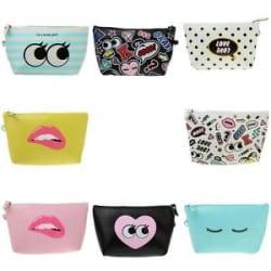 Details about PU Cosmetic Makeup Purse Wash Bag Organizer Pouch Pencil Case Bag