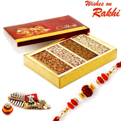 Aapno Rajasthan Assorted Dryfruit Gift Box With 1 Bhaiya Rakhi