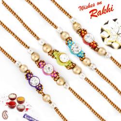 Aapno Rajasthan Set of 5 Golden Beads & Ad Studded Elegant Rakhi, only rakhi