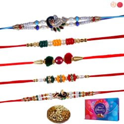 Siddhi Sales Pack Of 5 Rakhi With Gift Hamper Set