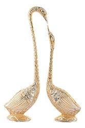 Jaipurcrafts Webelkart Pair Of Kissing Duck Showpiece - 33.02 Cm (Aluminium, Golden )