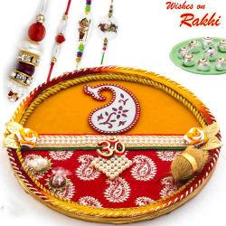 Aapno Rajasthan Yellow & Red Paisley Design Rakhi Pooja Thali With Set of Bhaiya Bhabhi & Kids Rakhis, only rakhi