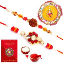 Halowishes Traditional Design Minakari Pooja Thali Rakhi Gift