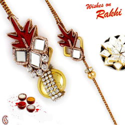Aapno Rajasthan Mirror And Zardosi Work Bhaiya Bhabhi Rakhi Set, only rakhi
