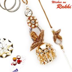 Aapno Rajasthan Ad Studded Zardosi Work Bhaiya Bhabhi Rakhi Set, only rakhi