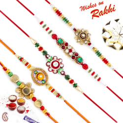 Aapno Rajasthan Set Of 5 Ad Studded Multicolor Floral Motif Rakhi, rakhi with 200 gm kaju katli