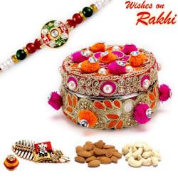 Aapno Rajasthan Red & Orange Cotton Balls Dryfruit Box With 1 Bhaiya Rakhi