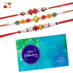 Maalpani Trio Pack Of Fancy Multicolor Bead Rakhi With Cadbury Celebration Pack 330
