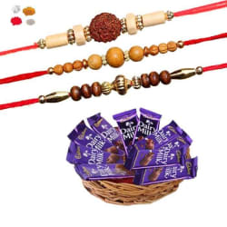 Maalpani Three Wooden Bead N Natural Rudraksh Rakhi With Cadbury Dairy Milk Chocolates 302