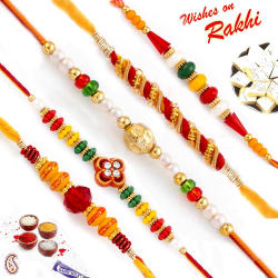 Aapno Rajasthan Set Of 5 Ad & Rudraksh Embellished Rakhi, rakhi with 200 gm kaju katli