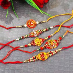 Giftacrossindia Combo Of Five Traditional Rakhi