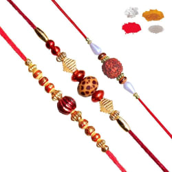 Maalpani Trio Fancy Bead Rakhi And Natural Rudraksh Rakhi Set