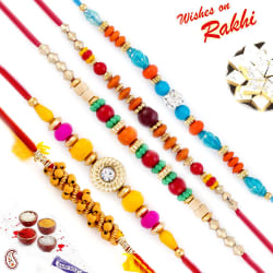 Aapno Rajasthan Set Of 5 Crystal Beads & Ad Studded Rakhi, rakhi with 200 gm kaju katli
