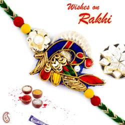 Aapno Rajasthan Charming Peacock Style Zardosi Rakhi, rakhi with 200 gm kaju katli